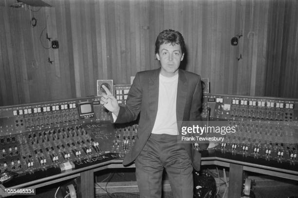 English singer-songwriter, multi-instrumentalist, and composer Paul McCartney in a recording studio following the release of his album with the Wings...