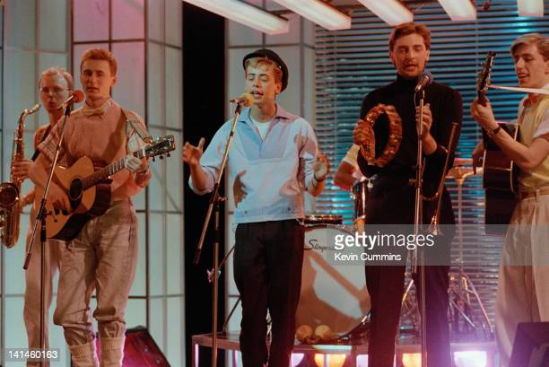 English singersongwriter Nick Heyward performing with Haircut One Hundred on the BBC TV show 'Cheggers Plays Pop' circa 1984