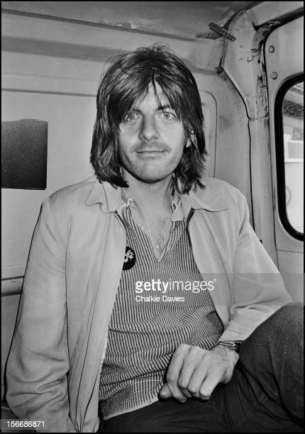 English singersongwriter Nick Lowe in the back of a Bedford Van London 1978
