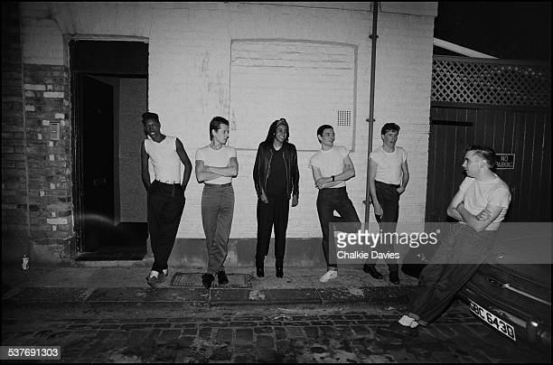 English ska revival band The Special AKA outside a rehearsal studio in North London where they are preparing for their third LP 'In the Studio' 1983...