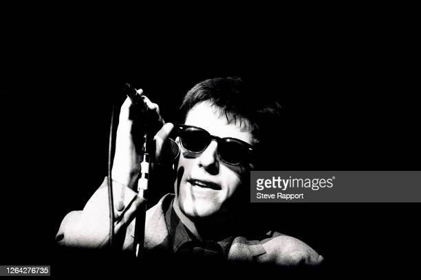English Ska singer Suggs , of the group Madness, at the Lyceum, London, 3/1/1983.