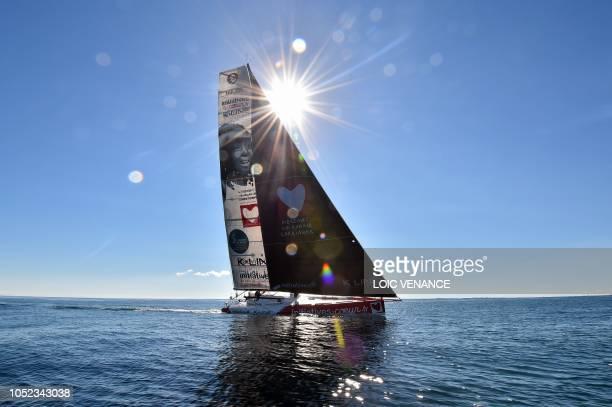 TOPSHOT English skipper Samantha Davies sails her InitiativesCoeur Class 60 Imoca monohull off PortLaForet western France on October 16 a few week...