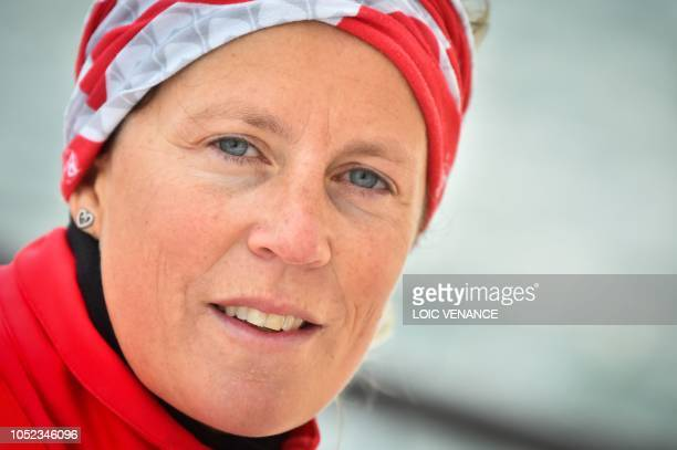 English skipper Samantha Davies sails her InitiativesCoeur Class 60 Imoca monohull off PortLaForet western France on October 16 a few week prior to...
