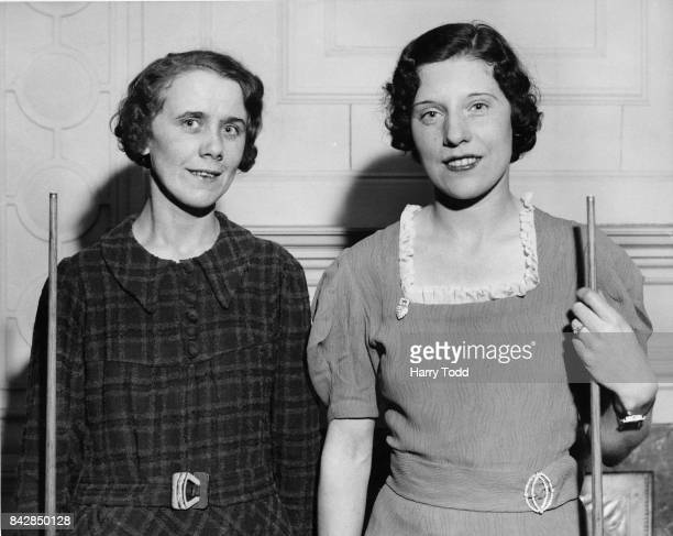 English snooker champion Ruth Harrison and billiards champion Joyce Gardner before their upcoming billiards match at Burroughes and Watts Hall London...