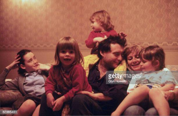 English snooker player Jimmy White with his wife Maureen and their daughters Lauren Ashley Georgia and Breeze circa 1990