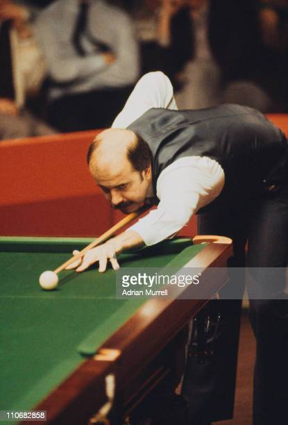 English snooker player Willie Thorne competing in the World Snooker Championship at the Crucible Theatre Sheffield April 1983