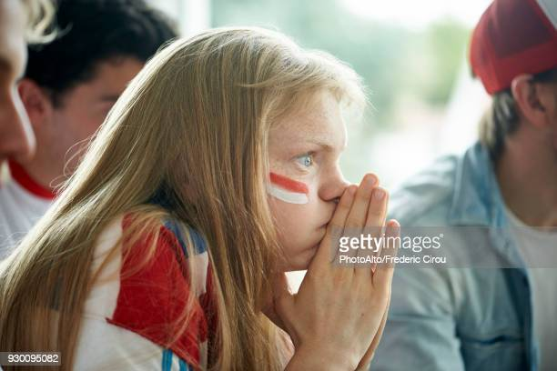 english soccer fans watching televised match together - face paint stock pictures, royalty-free photos & images