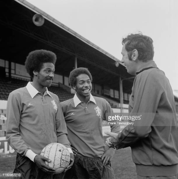 English soccer manager Gordon Jago of Millwall FC with his two players Trevor Lee and Phil Walker UK 3rd October 1975