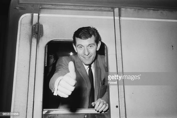 English soccer player Alan Mullery of Tottenham Hotspur FC leaving Euston Station for match against Manchester City FC London UK 1st March 1969