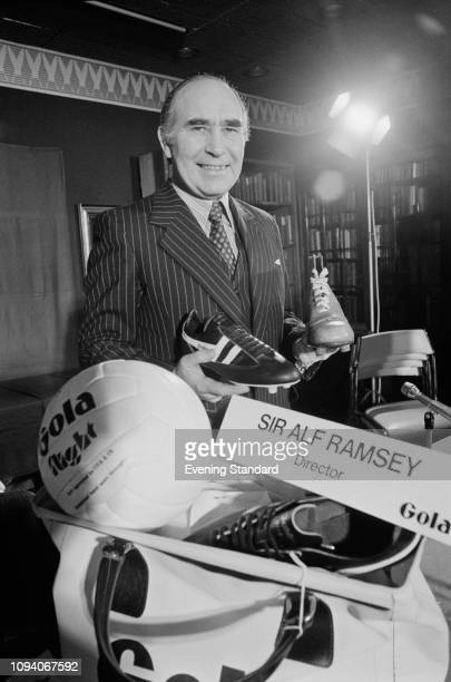 English soccer player and manager Alf Ramsey with Gola equipment UK 24th March 1975