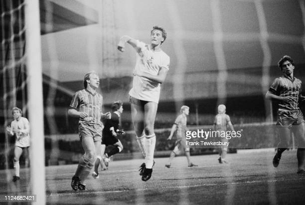 English soccer player and manger Glenn Hoddle of Tottenham Hotspur FC in action during a match against Coventry City FC at White Hart Lane London UK...