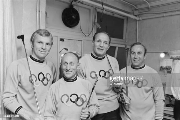 English soccer player Bobby Moore Australian jockey Scobie Breasley English heavyweight boxer Henry Cooper and English soccer player Billy Wright at...