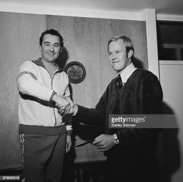 English soccer player Brian Clough , manager of Brighton & Hove Albion FC, with South African cricket player Tony Greig , captain of Sussex County...