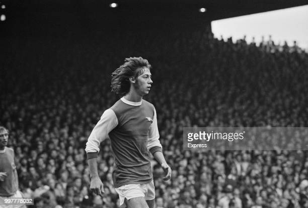 English soccer player Charlie George forward for Arsenal FC during a match against Leicester City FC London UK 27th September 1971