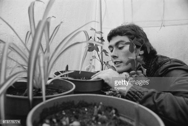 English soccer player Dave Thomas of Queens Park Rangers FC gardening in his greenhouse UK 16th February 1974