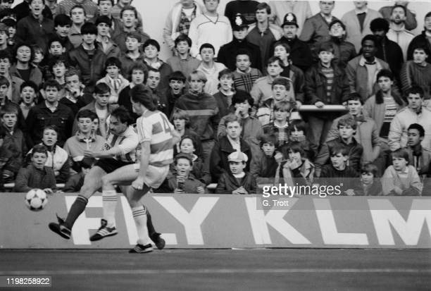 English soccer player David Hodgson in action during a Queens Park Rangers FC v Sunderland FC match, UK, 23rd February 1985.