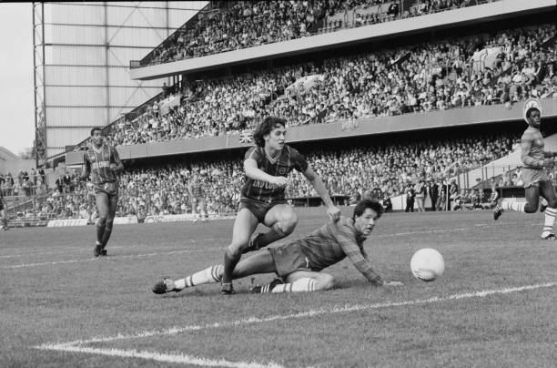 English soccer player Gary Lineker in action during Chelsea FC v Leicester City FC match at Stamford Bridge, London, UK, 29th September 1984.