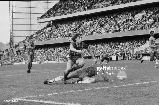 English soccer player Gary Lineker in action during Chelsea FC v Leicester City FC match at Stamford Bridge London UK 29th September 1984
