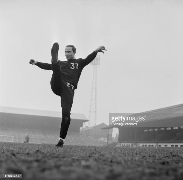 English soccer player George Cohen of Fulham FC training at Craven Cottage, London, UK, 2nd October 1968.