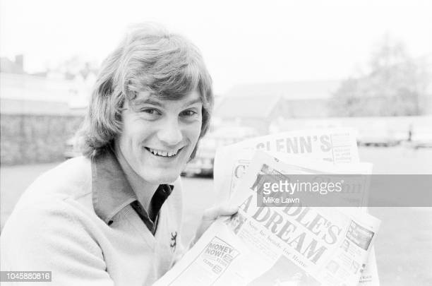 English soccer player Glenn Hoddle of Tottenham Hotspur FC holding newspapers celebrating his outstanding performance with his team, London, UK, 5th...