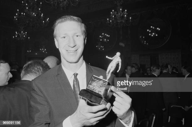 English soccer player Jack Charlton of Leeds United FC holding the award for 'Footballer of the Year' UK 19th May 1967
