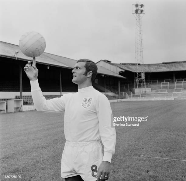 English soccer player Keith Weller of Millwall FC spinning a soccer ball on a finger at the The Den Stadium London UK 8th August 1968