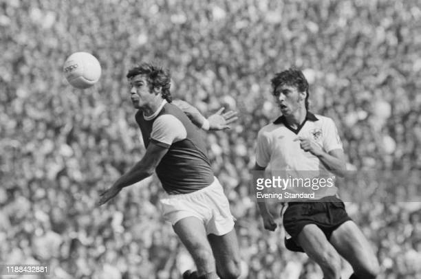 English soccer player Malcolm Macdonald of Arsenal FC in action during a match against Bristol City FC at Arsenal Stadium, Highbury, London, UK, 24th...
