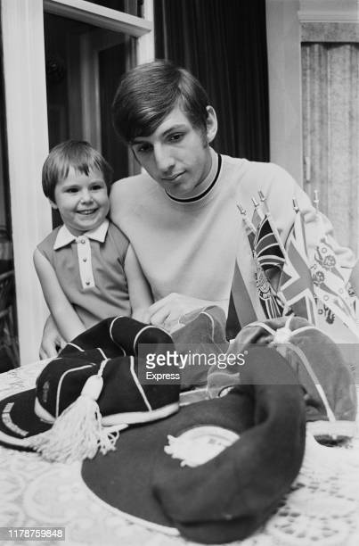 English soccer player Martin Peters at home with his daughter Leann Peters UK 5th October 1969