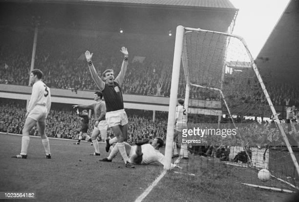 English soccer player Martin Peters of West Ham United FC scores against Sunderland FC Upton Park London UK 24th August 1965