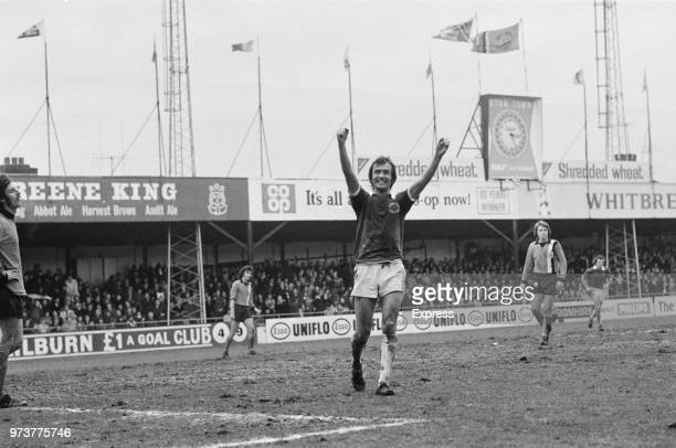 English soccer player of Leicester FC Steve Earle exults during a match against Leeds United FC UK February 1974