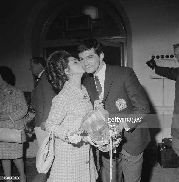 English soccer player Stan Harland kissed by his fiance Joyce Coates after winning League Cup Final with Swindon Town FC UK 17th March 1969
