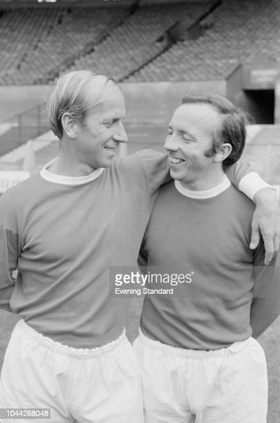 English soccer players Bobby Charlton and Nobby Stiles of Manchester United FC, UK, 1st August 1968.