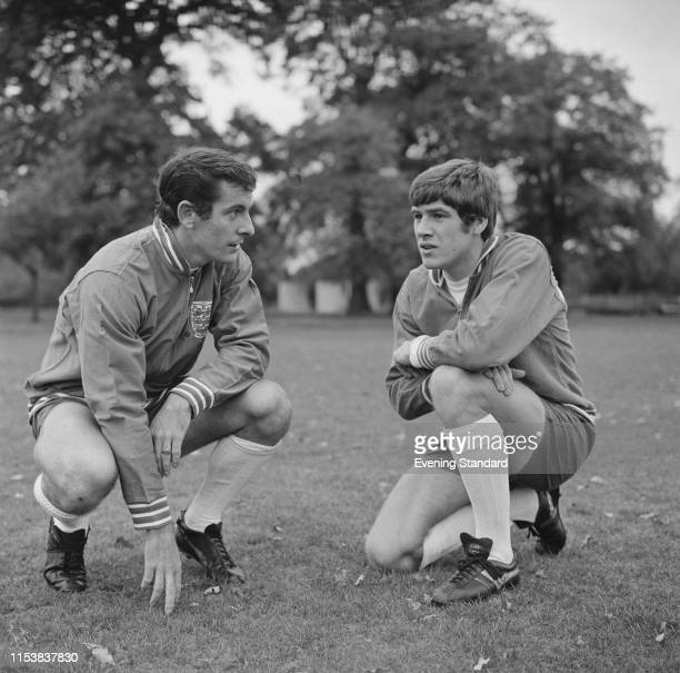 English soccer players Emlyn Hughes and Alan Mullery during training with the England national football team UK 3rd November 1969