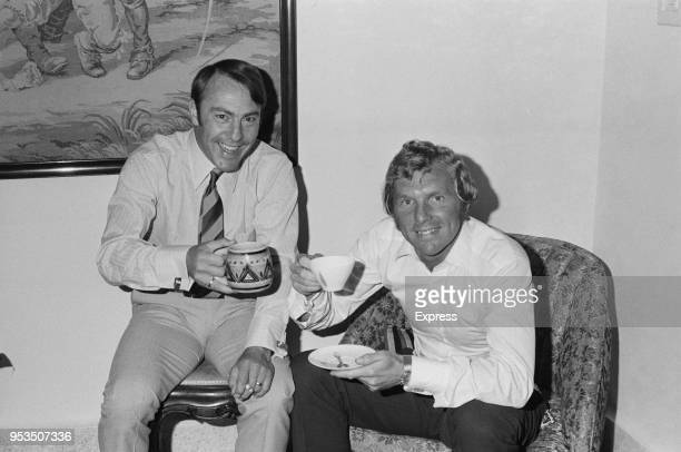 English soccer players Jimmy Greaves and Bobby Moore having a tea in the British Embassy, UK, 2nd June 1970.