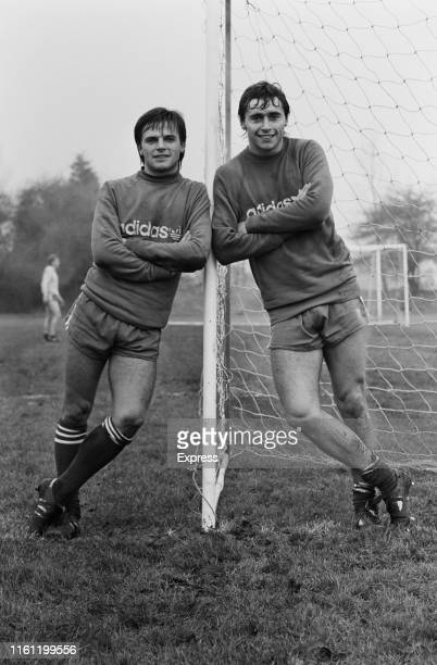 English soccer players Michael Robinson and Gary Bannister of Queens Park Rangers FC UK 29th December 1984