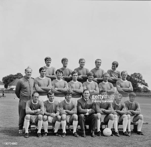 English soccer team Everton FC group photo with trainer Wilf Dixon and manager Harry Catterick UK 9th August 1968 they are Tommy Wright Jimmy Husband...