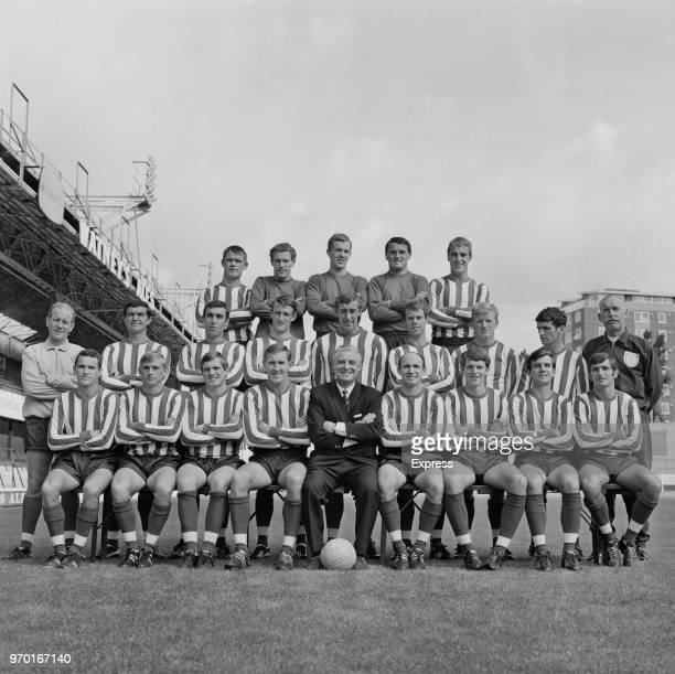 English soccer team Southampton FC, group photo, UK, 22nd August 1967; they are: manager Ted Bates , Ken Jones, Jerry Paine, Ron Davies, Campbell...