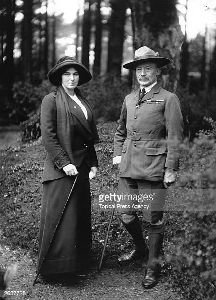 English soldier Sir Robert Stephenson Smyth BadenPowell founder of the Boy Scouts with his wife