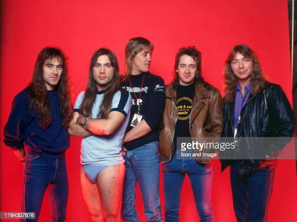 English songwriter and bassist Steve Harris, English songwriter, musician and lead singer Bruce Dickenson, English drummer Nicko McBrain, English...
