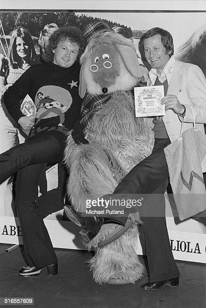 English songwriter and producer Mike Batt with Great Uncle Bulgaria of Childrens' TV show spinoff band The Wombles at a record company promotional...