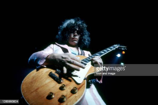 English songwriter, musician, lead singer of the band T. Rex and one of the pioneers of the glam rock movement, Marc Bolan plays his Gibson Les Paul...