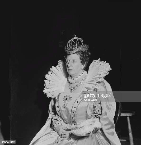 English soprano Joan Cross as Queen Elizabeth I during rehearsals of Benjamin Britten's opera 'Gloriana' at the Royal Opera House London 9th June...