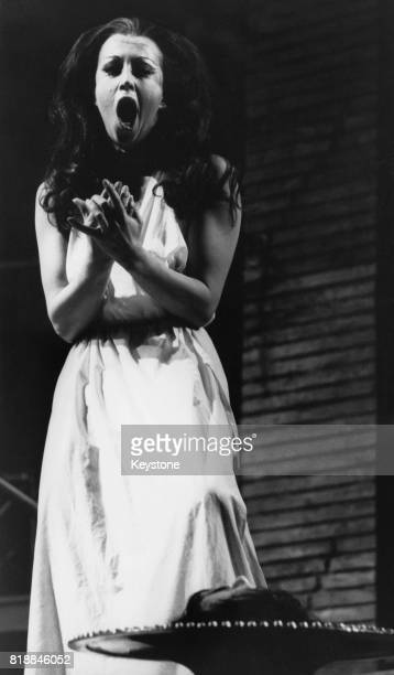 English soprano Josephine Barstow as Salome singing to the head of Jokanaan during dress rehearsals for the English National Opera production of...