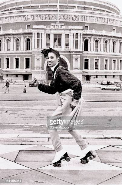 English Soul and Pop singer Dee C Lee roller skates outside the Royal Albert Hall during the filming of a music video for her song 'See The Day'...