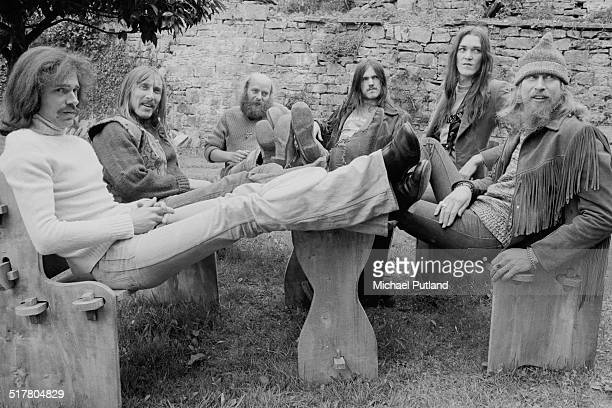 English space rock group Hawkwind 10th May1974 Left to right keyboard player Simon House guitarist Dave Brock keyboard player Del Dettmar bassist...