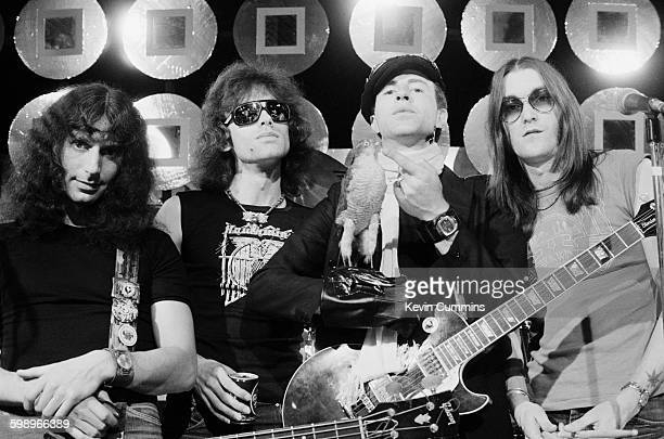 English space rock group Hawkwind at Granada Studios Manchester where they are to perform their song 'Quark Strangeness and Charm' on Marc Bolan's...