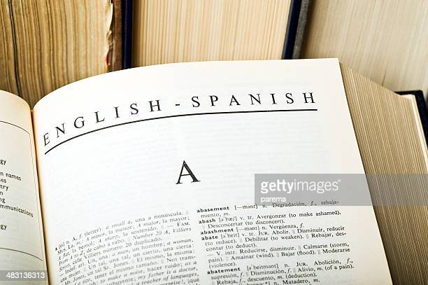 english spanish dictionary - dictionary stock pictures, royalty-free photos & images