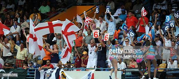English spectators wave the flag during the ICC World Twenty20 Super 8 stage match between Pakistan and England at the Kensington Oval on May 6 2010...