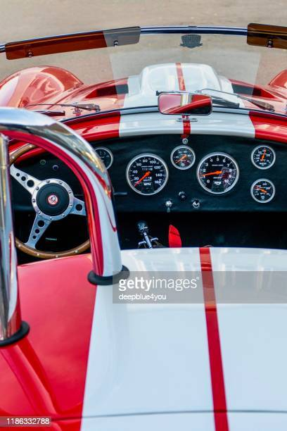 english sports car / racing car ac cobra parked at oldtimer mobile meeting, in hamburg germany - jaguar car imagens e fotografias de stock