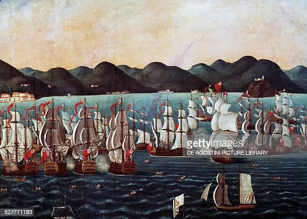 English squadron visiting Guanabara Bay painting by Leandro Joaquim oil on canvas 111x139 cm Brazil 18th century Rio De Janeiro Museu Histórico...